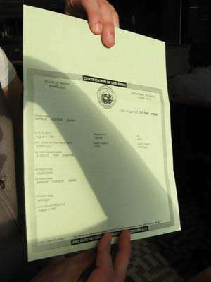 Birth Certificate Being Held by Journalist