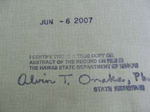 Birth Certificate State of Hawaii Certification Signature
