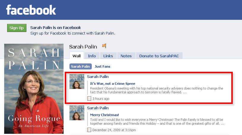 Palin's Facebook Comments