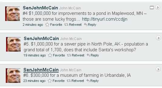 McCain Tweets on Earmarks