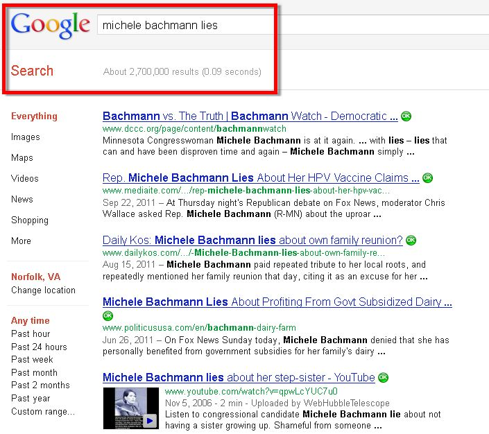 Michele Bachman Lies Google Search