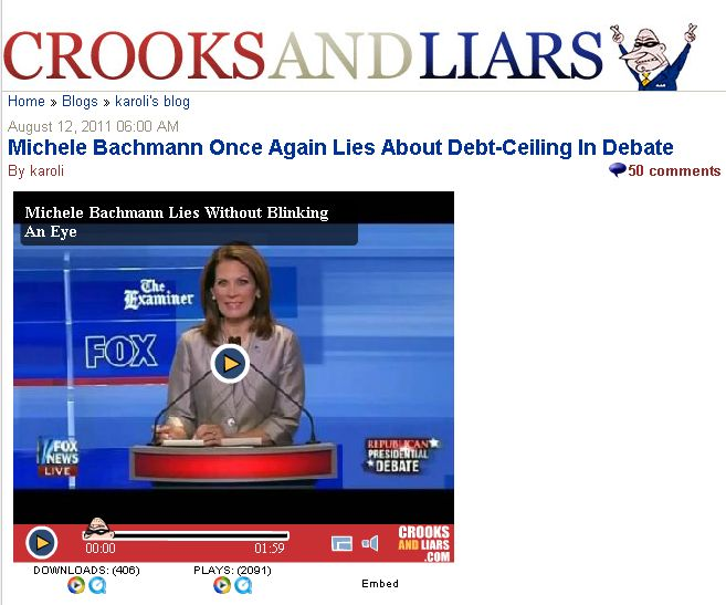 Crooks and Liars Michele Bachmann