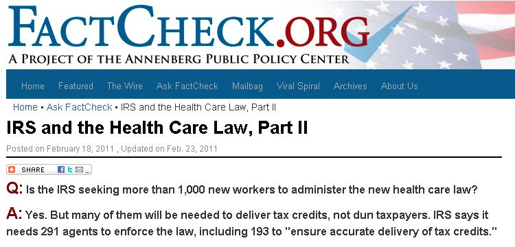 Fact Check IRS Agents for ObamaCare