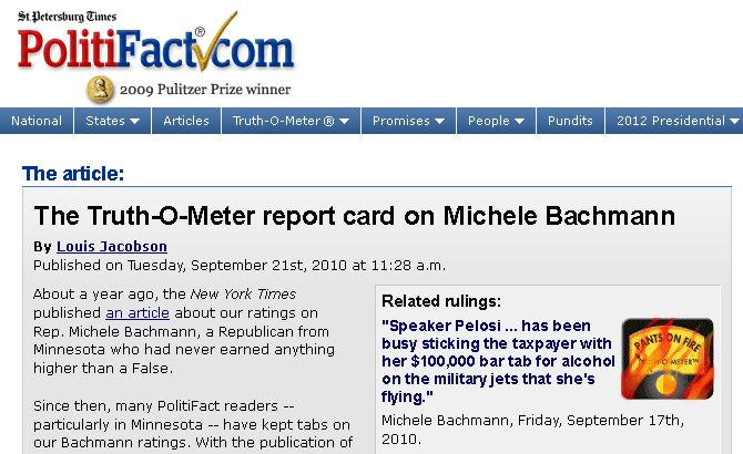 Michele Bachman's Record on PolitiFact.com